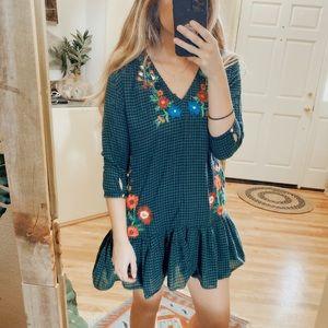 Zara Green Plaid Floral Embroidered Mini Dress